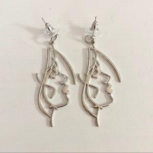 Face Drop Silver Earrings - NWT